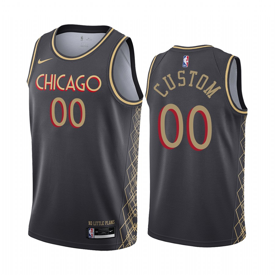 Men's Nike Bulls Custom Personalized Swingman Black NBA 2020-21 City Edition Jersey