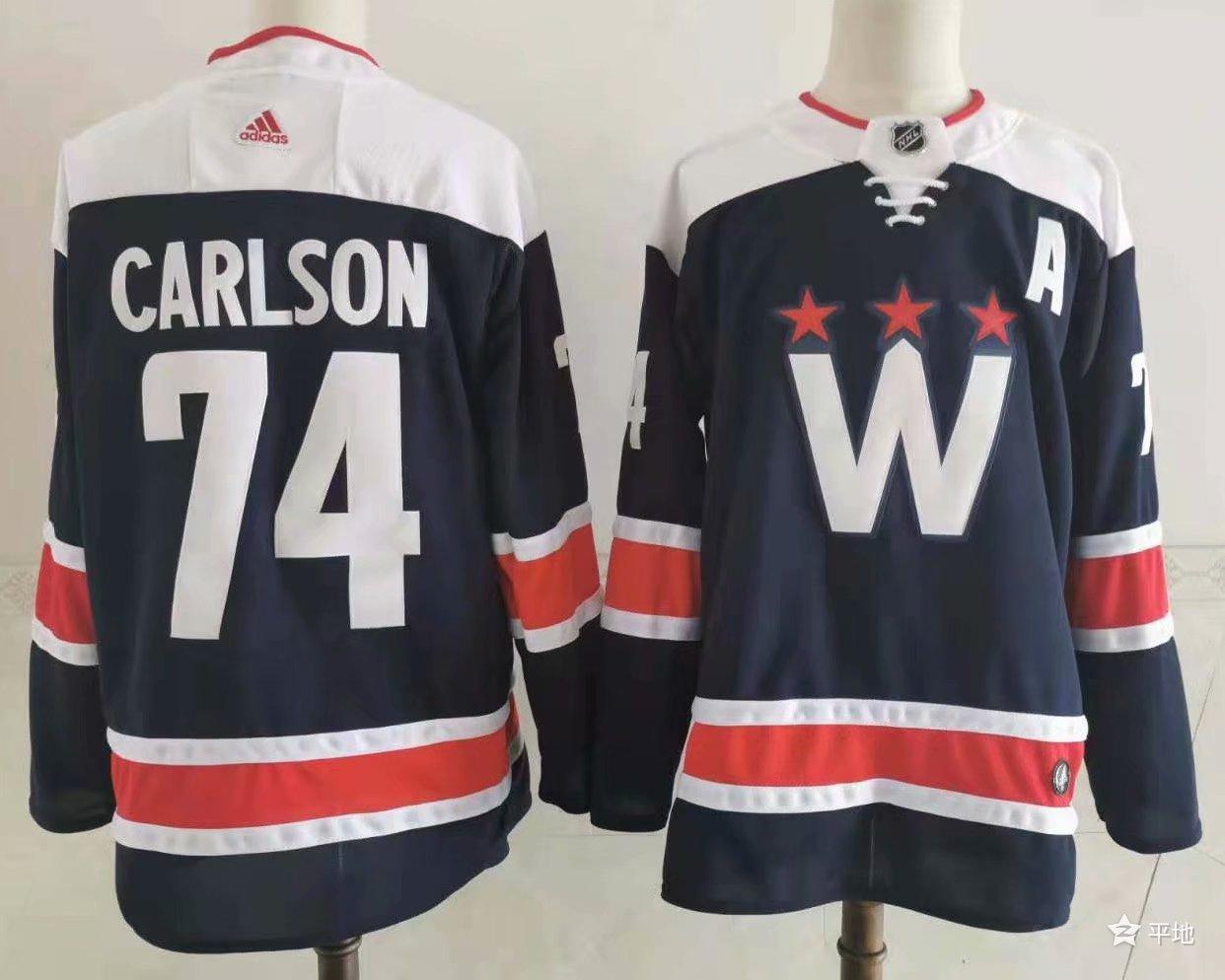 Men's Washington Capitals #74 John Carlson NEW Navy Blue Adidas Stitched NHL Jersey