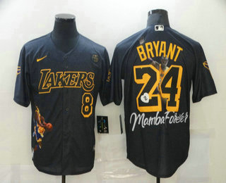 Men's Los Angeles Dodgers #8 #24 Kobe Bryant Black With Lakers Cool Base Stitched MLB Fashion Jerseys