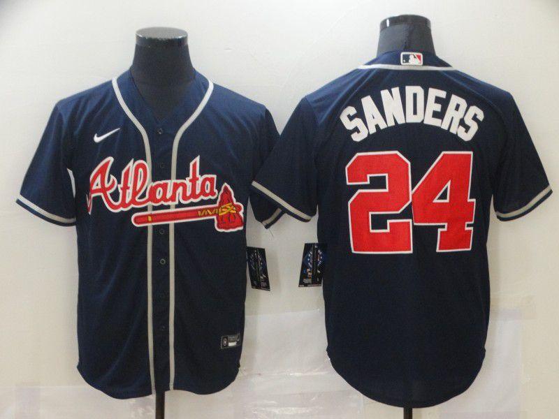 Men Atlanta Braves 24 Sanders Blue Game Nike MLB Jerseys