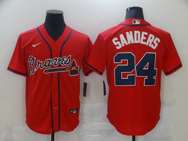 Men Atlanta Braves 24 Sanders Red Game Nike MLB Jerseys