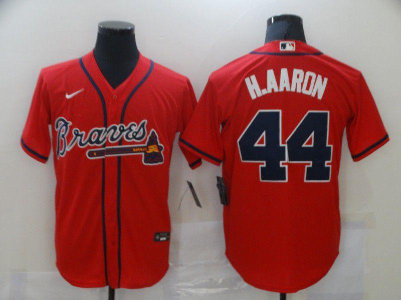 Men Atlanta Braves 44 H.aaron Red Game Nike MLB Jerseys