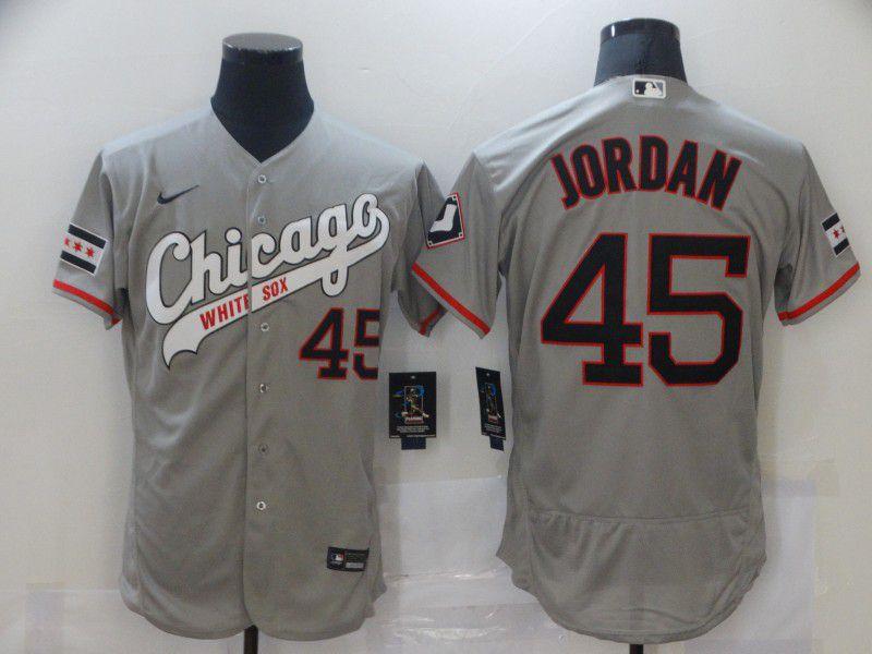 Men Chicago White Sox 45 Jordan Grey Elite Nike MLB Jerseys