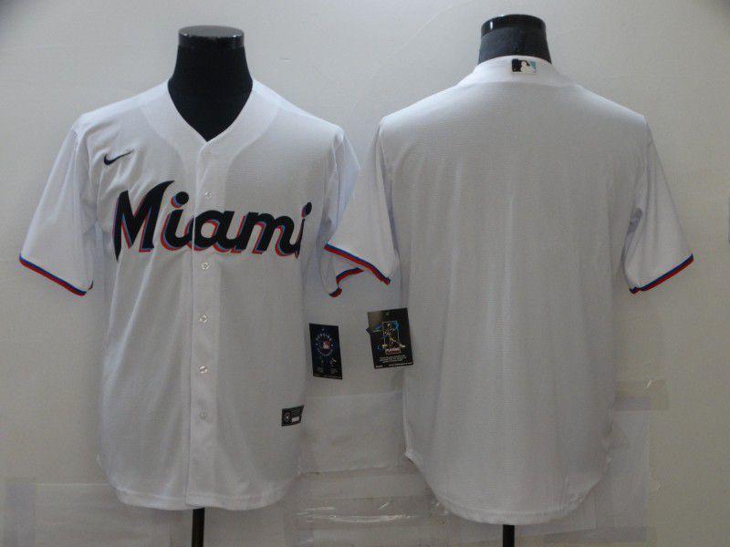 Men Miami Marlins Blank White Game Nike MLB Jerseys