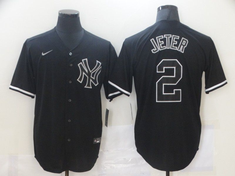Men New York Yankees 2 Jeter Black Game Nike MLB Jerseys