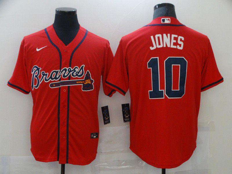 Men's Atlanta Braves #10 Chipper Jones Red Stitched MLB Cool Base Nike Jersey