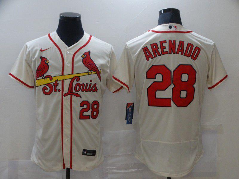 Men St.Louis Cardinals 28 Arenado Cream Elite Nike MLB Jerseys