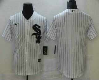 Men's Chicago White Sox Blank White Pinstripe Stitched MLB Cool Base Nike Jersey