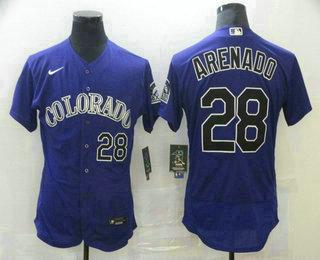Men's Colorado Rockies #28 Nolan Arenado Purple Stitched MLB Flex Base Nike Jersey