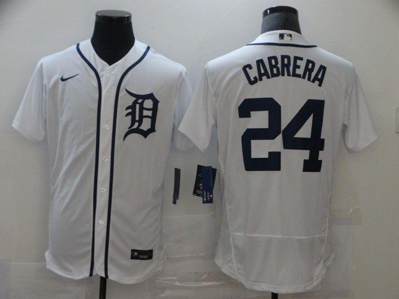 Men's Detroit Tigers #24 Miguel Cabrera White Stitched MLB Flex Base Nike Jersey