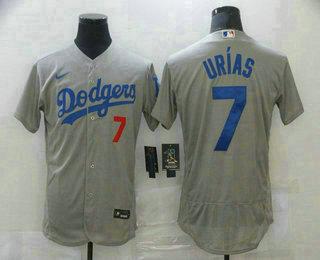 Men's Los Angeles Dodgers #7 Julio Urias Grey With Dodgers Stitched MLB Flex Base Jersey