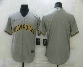 Men's Milwaukee Brewers Blank Gray Stitched MLB Cool Base Nike Jersey