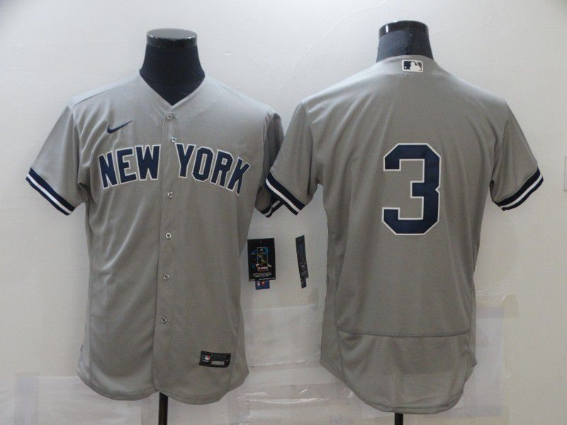 Men's New York Yankees #3 Babe Ruth Grey No Name Stitched MLB Flex Base Nike Jersey