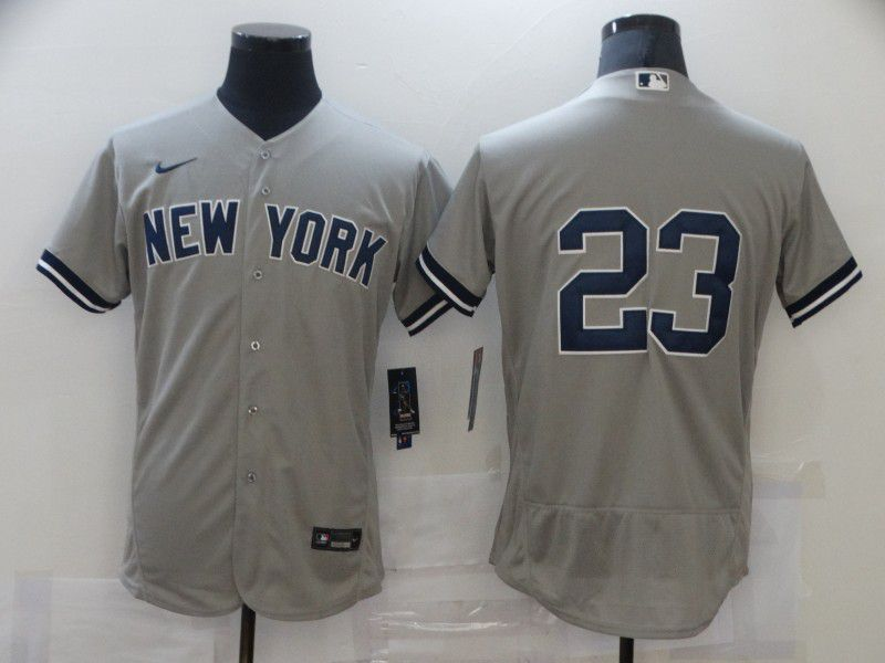 Men's New York Yankees #23 Don Mattingly Grey No Name Stitched MLB Flex Base Nike Jersey