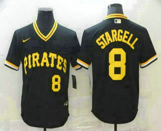 Men's Pittsburgh Pirates #8 Willie Stargell Black Mesh Batting Practice Throwback Nike Jersey