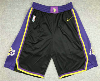 Men's Los Angeles Lakers Black Nike Swingman 2021 Earned Edition Stitched Shorts