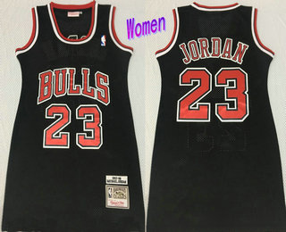 Women's Chicago Bulls #23 Michael Jordan 1997-98 Black Hardwood Classics Soul Swingman Throwback Dress
