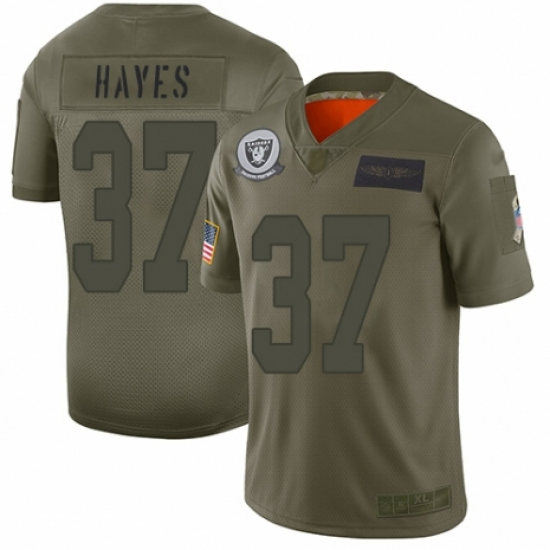 Men's Oakland Raiders #37 Lester Hayes Limited Camo 2019 Salute to Service Football Jersey