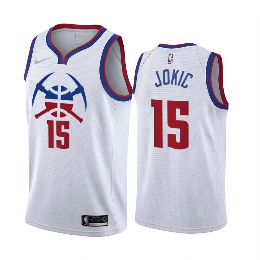 Denver Nuggets #15 Nikola Jokic White NBA Swingman 2020-21 Earned Edition Jersey