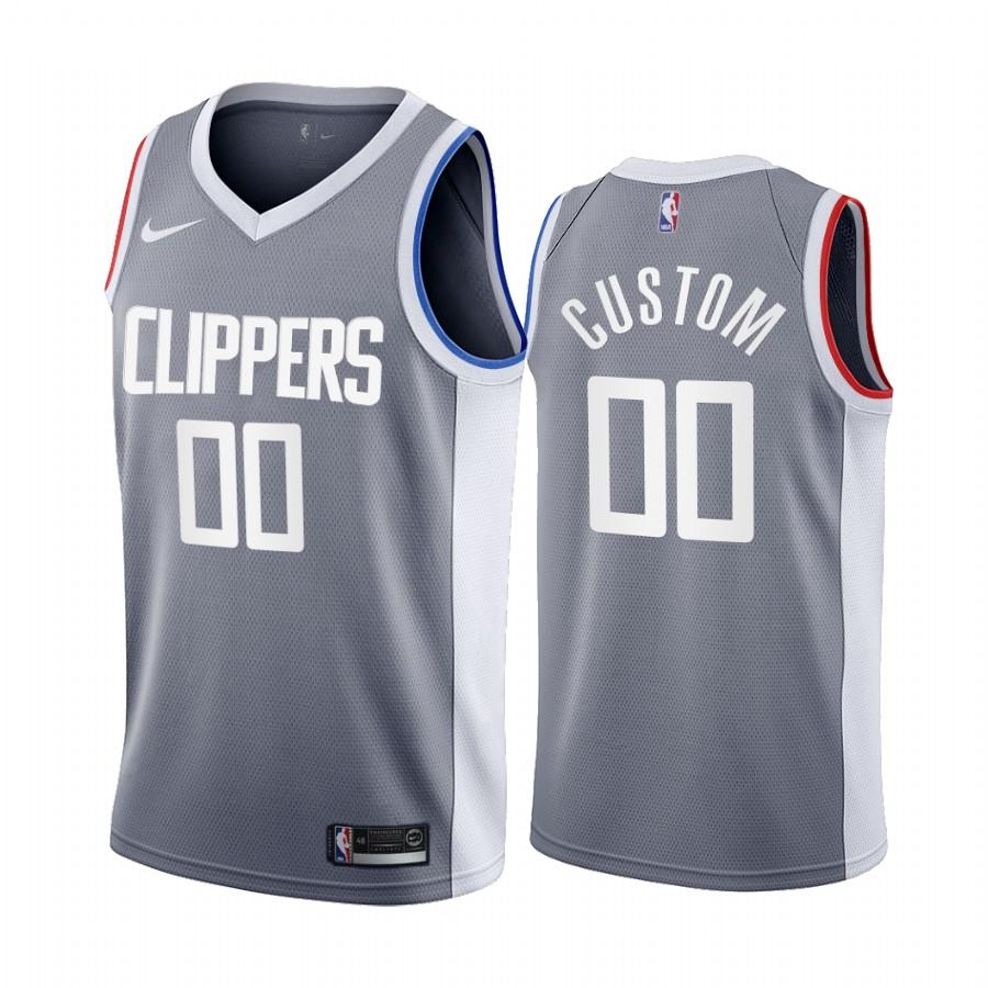 Los Angeles Clippers Personalized Gray NBA Swingman 2020-21 Earned Edition Jersey