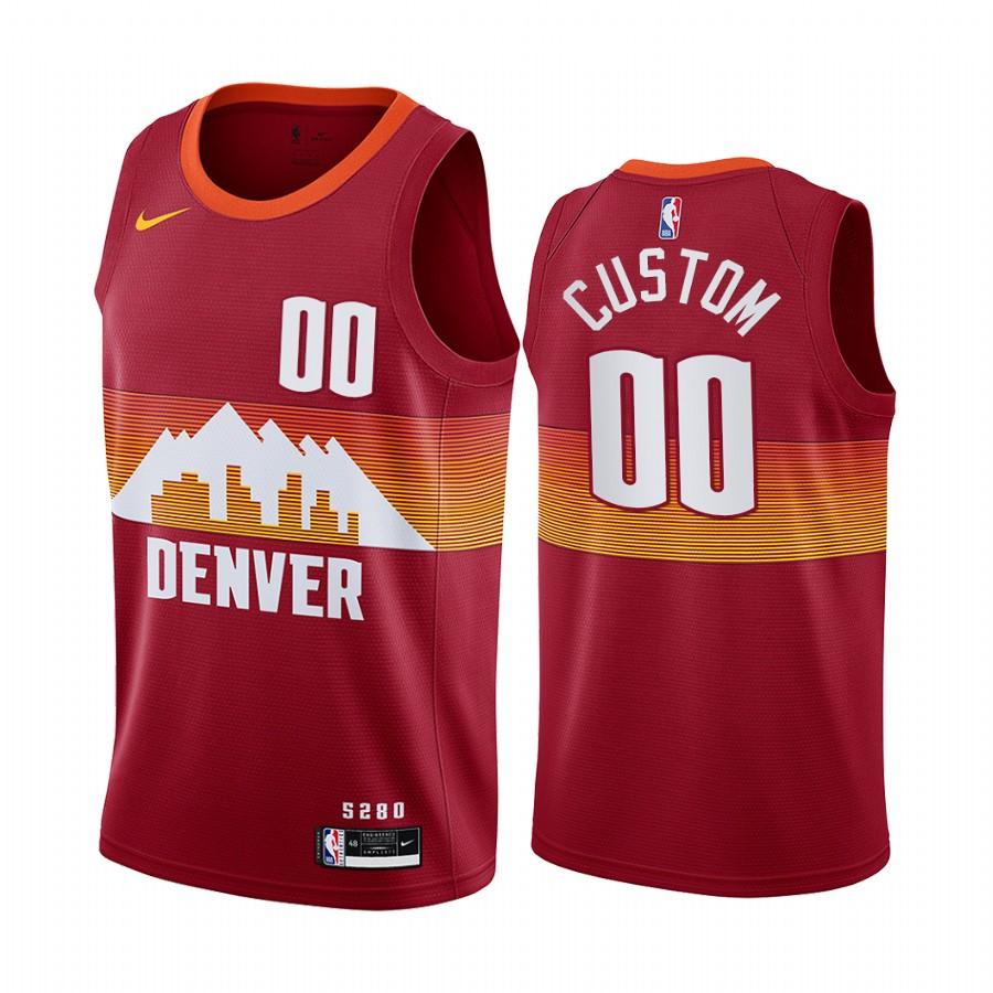 Men's Nike Nuggets Personalized Red NBA Swingman 2020-21 City Edition Jersey