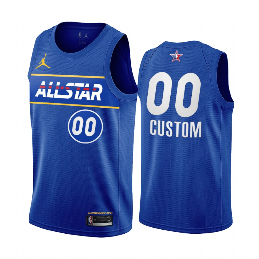 Men's Nike Personalized Jordan Brand Blue 2021 NBA All-Star Game Swingman Finished Jersey