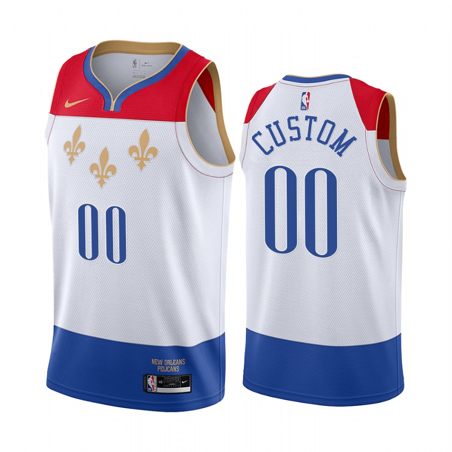 Men's Nike Pelicans Personalized White NBA Swingman 2020-21 City Edition Jersey
