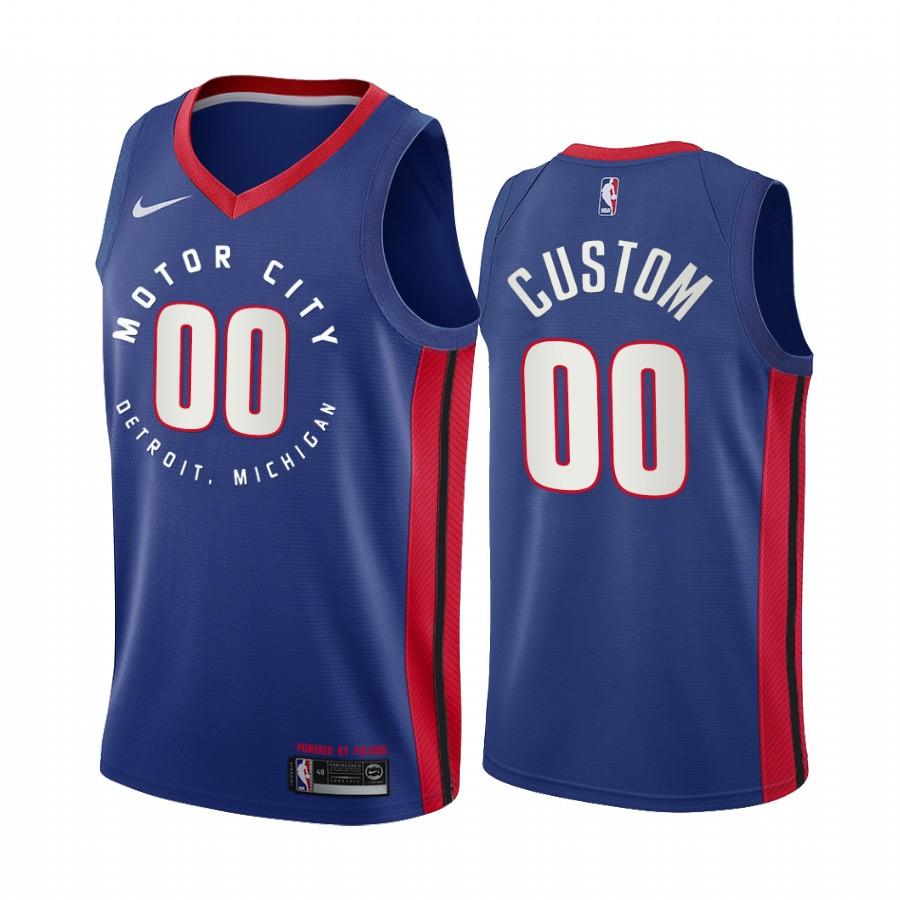 Men's Nike Pistons Personalized Blue NBA Swingman 2020-21 City Edition Jersey