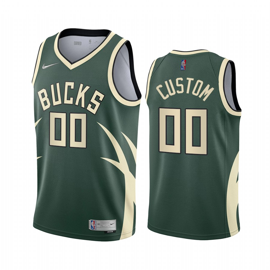 Milwaukee Bucks Personalized Green NBA Swingman 2020-21 Earned Edition Jersey
