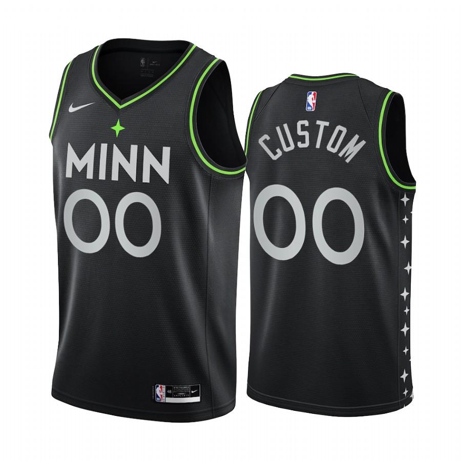 Nike Timberwolves Personalized Black NBA Swingman 2020-21 City Edition Jersey