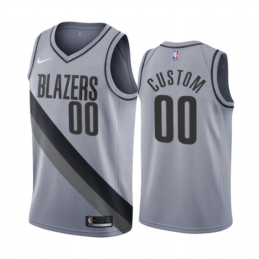 Portland Trail Blazers Personalized Gray NBA Swingman 2020-21 Earned Edition Jersey