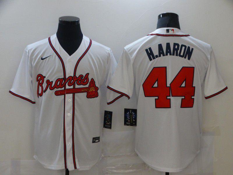 Men Atlanta Braves 44 H.Aaron White Game 2021 Nike MLB Jersey