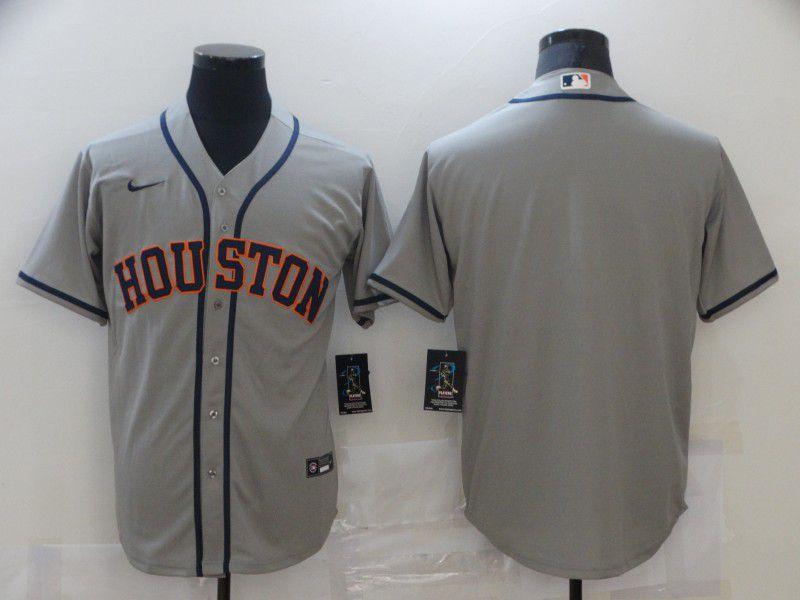 Men Houston Astros Blank Grey Game 2021 Nike MLB Jersey