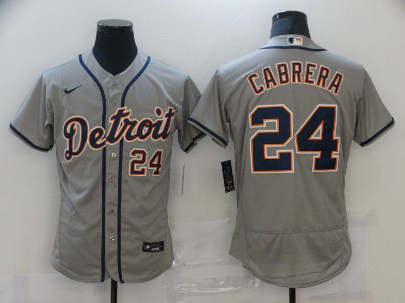 Men Detroit Tigers 24 Cabrera Grey Elite 2021 Nike MLB Jersey