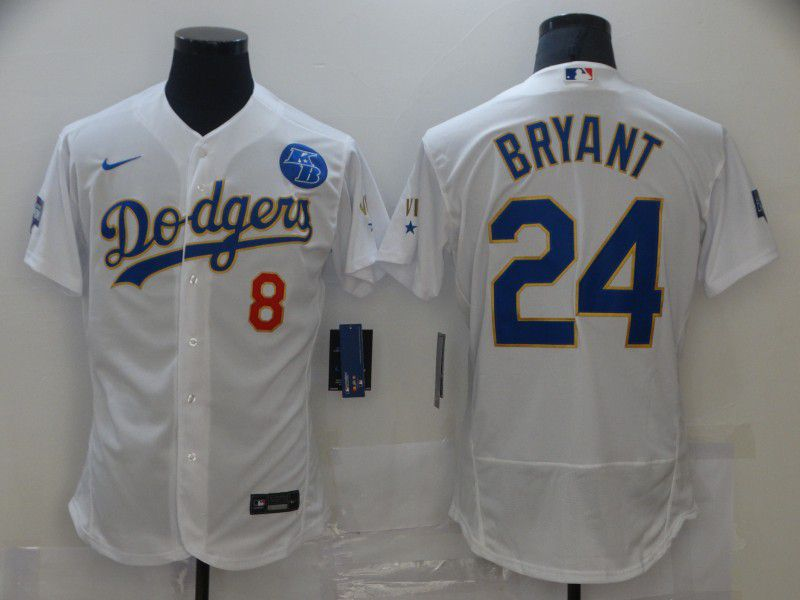 Men Los Angeles Dodgers 24 Bryant Champion of white gold and blue characters Elite 2021 Nike MLB Jersey
