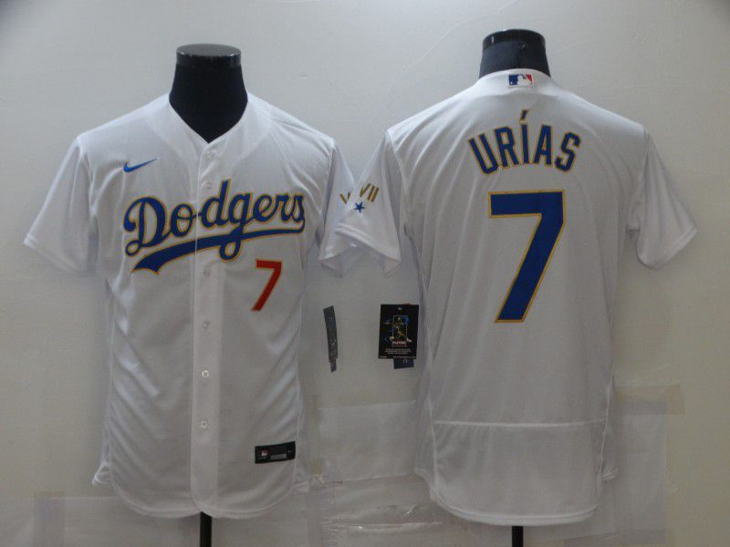 Men Los Angeles Dodgers 7 Urias Champion of white gold and blue characters Elite 2021 Nike MLB Jersey