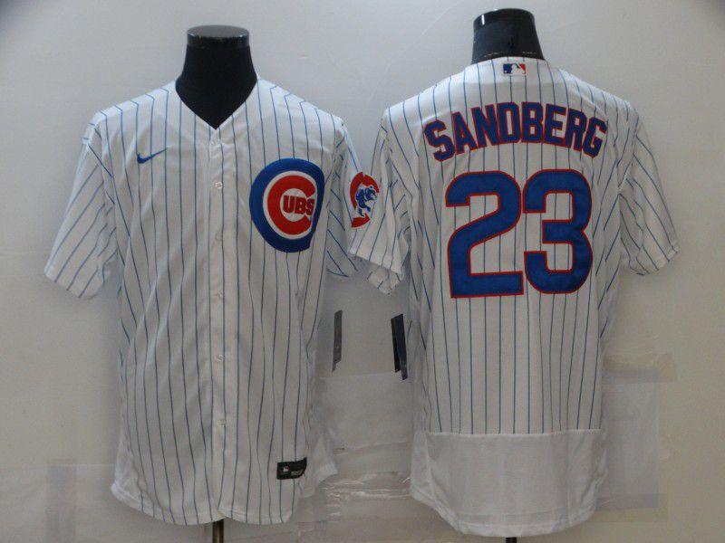 Men New York Mets 23 Sandberg White stripe Elite 2021 Nike MLB Jersey