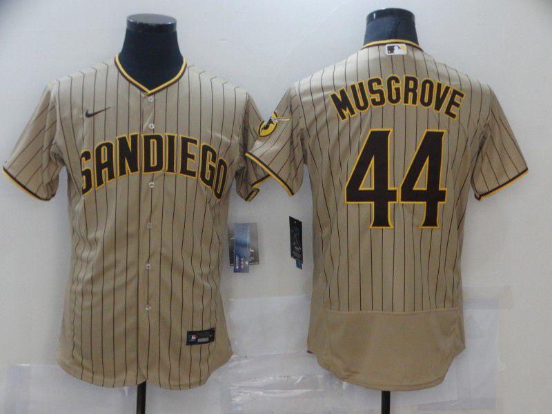 Men San Diego Padres 44 Musgrove brown stripe Elite 2021 Nike MLB Jersey