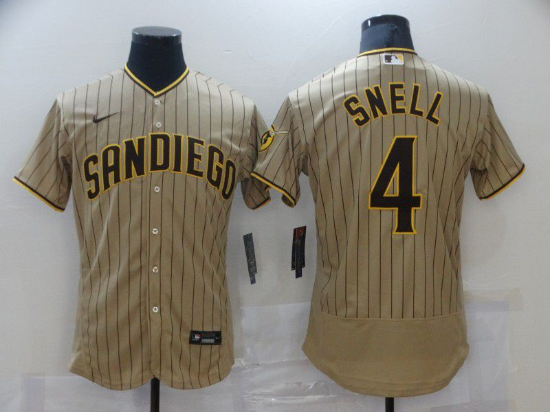 Men San Diego Padres 4 Snell brown stripe Elite 2021 Nike MLB Jersey