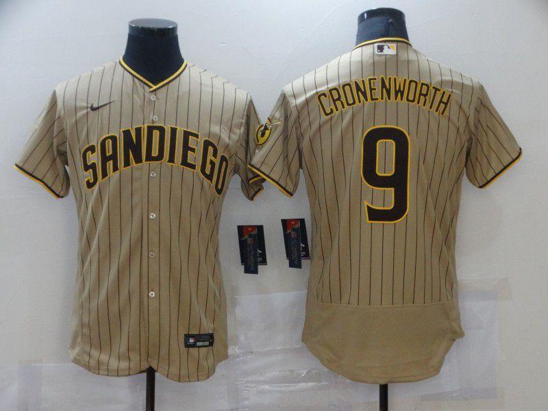Men San Diego Padres 9 Cronenworth brown stripe Elite 2021 Nike MLB Jersey