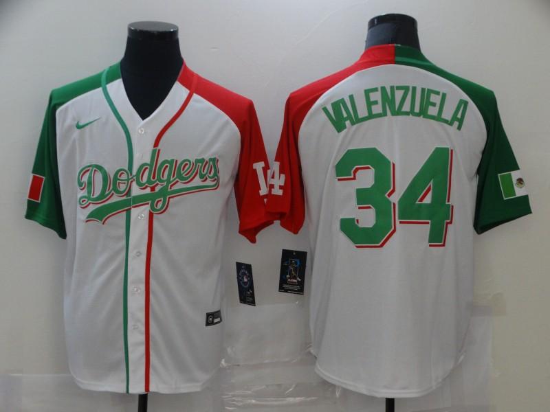 Men's Los Angeles Dodgers #34 Fernando Valenzuela White Mexican Heritage Culture Night Nike Jersey