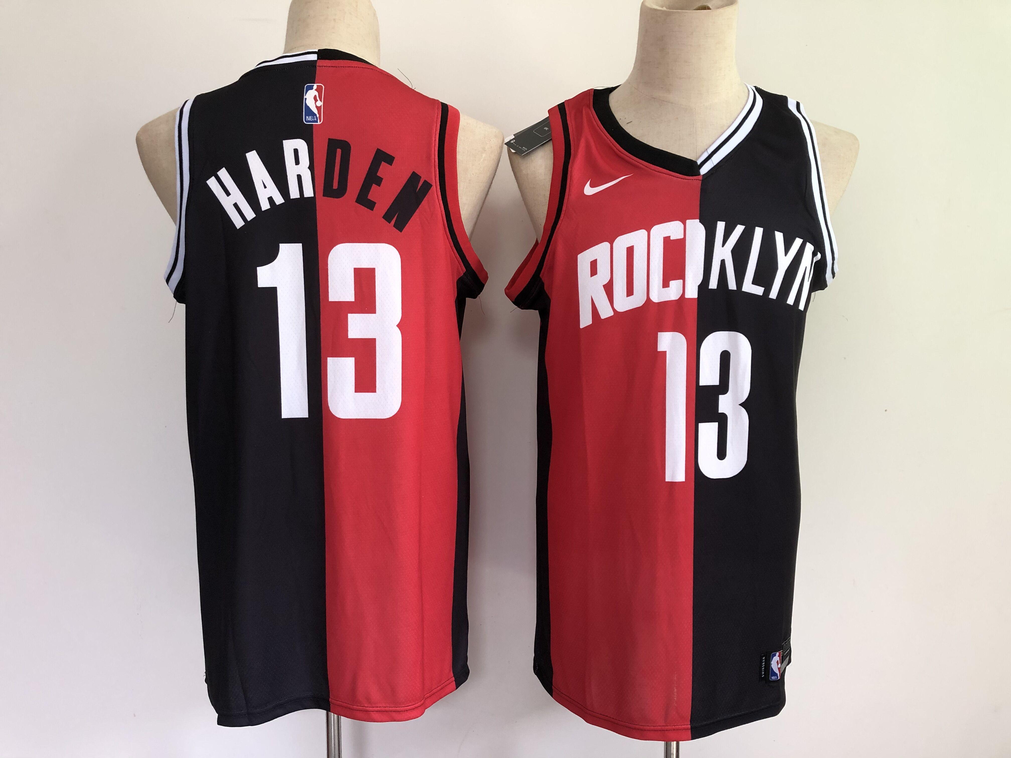 Men Houston Rockets 13 Harden 2021 past and present red black rockets MVP Nike NBA Jersey