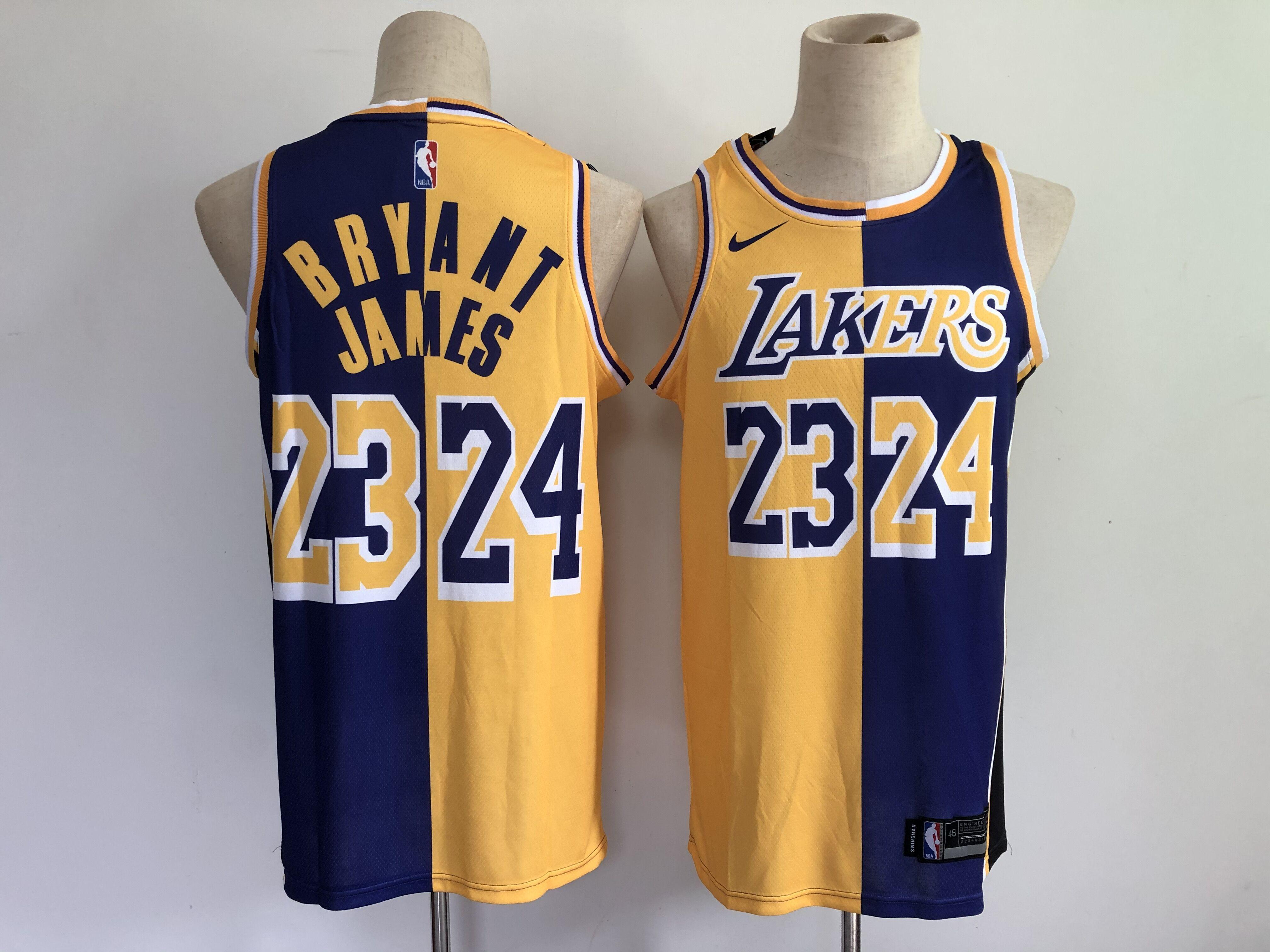 Men Los Angeles Lakers 24 Bryant 23 james purple yellow split special 2021 nike nba jersey