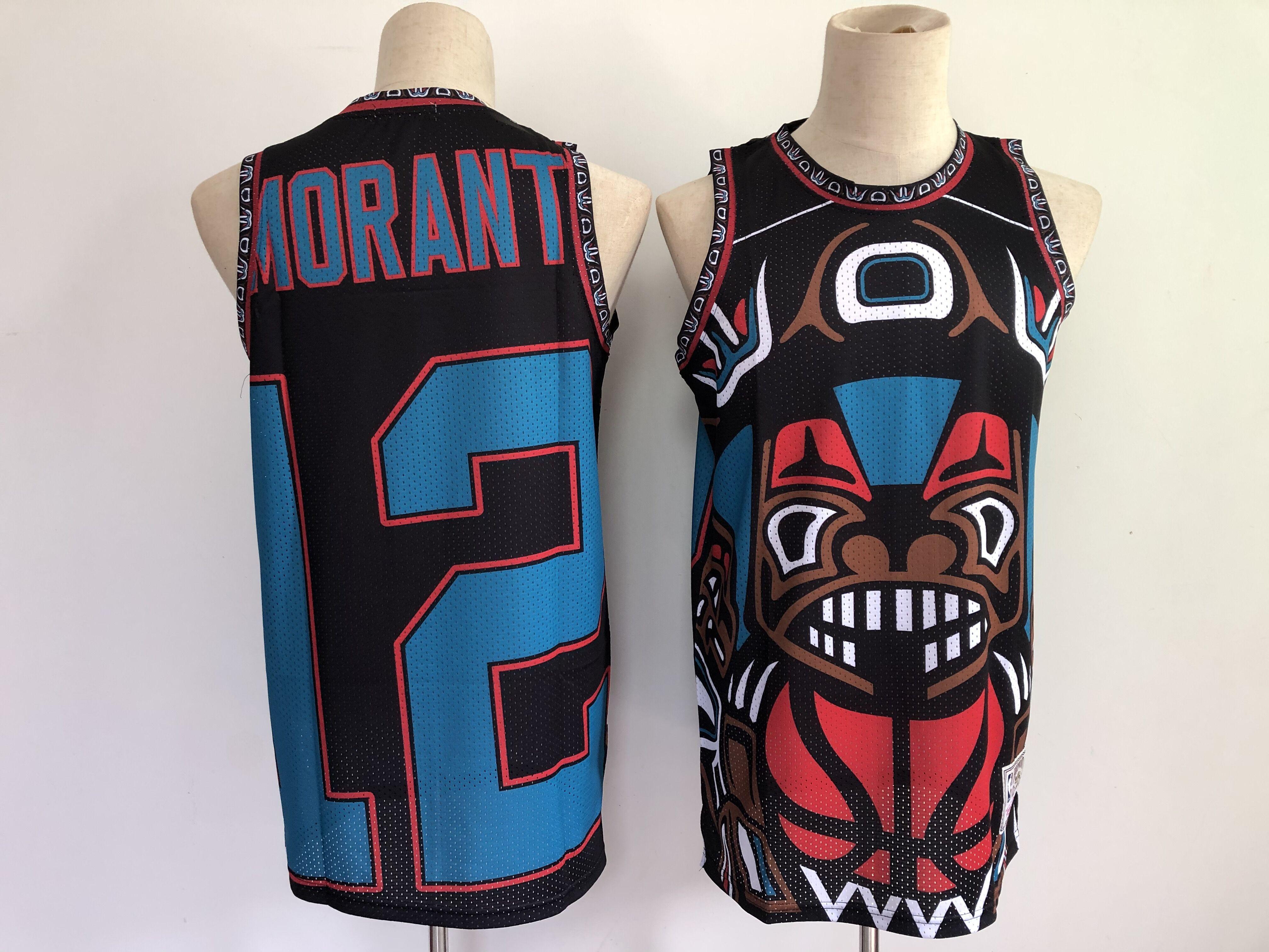 Men Memphis Grizzlies 12 Morant big face Black 2021 NBA Jersey