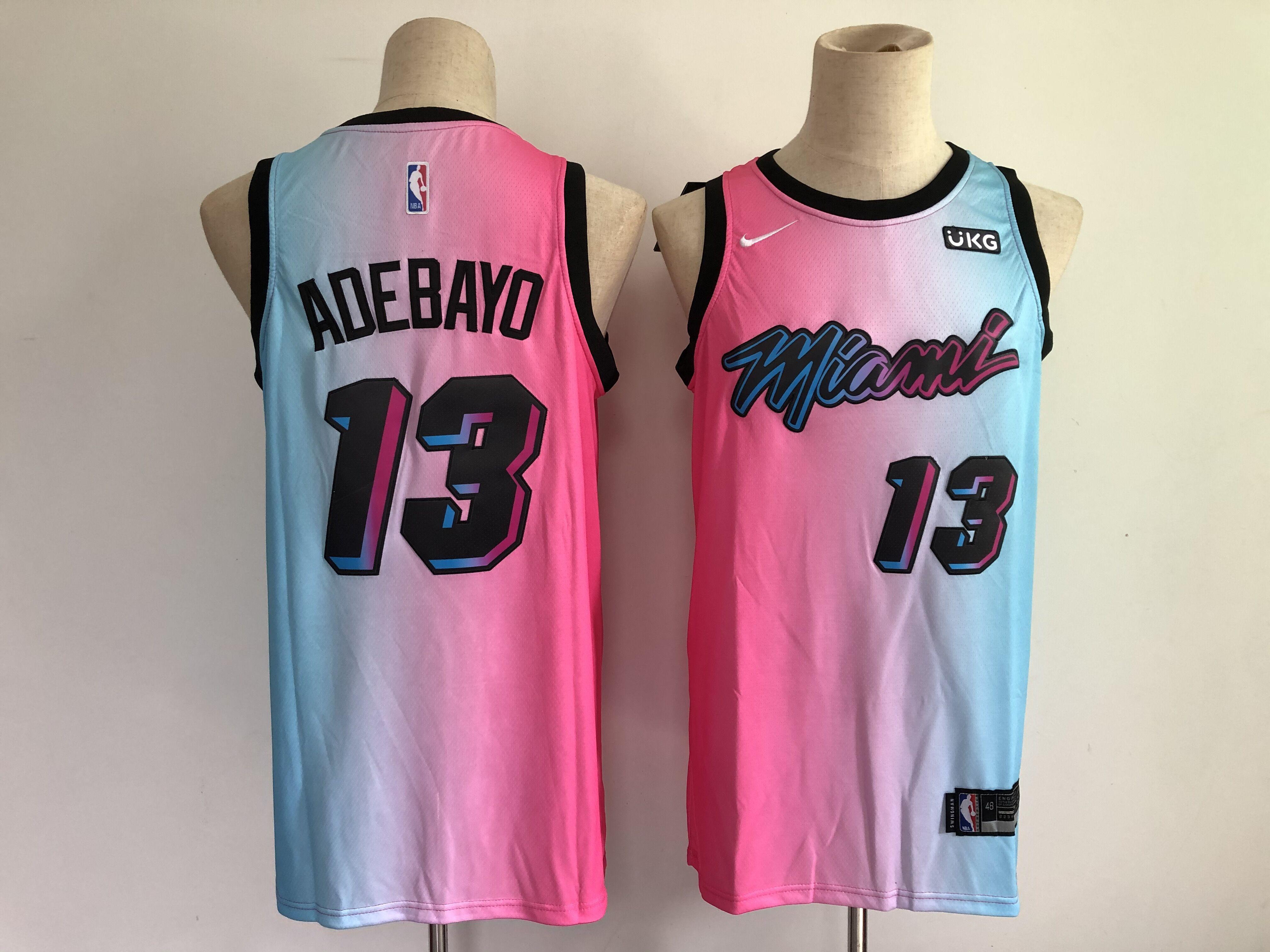 Men Miami Heat 13 Adebayo Blue and pink city Edition Nike 2021 NBA Jersey