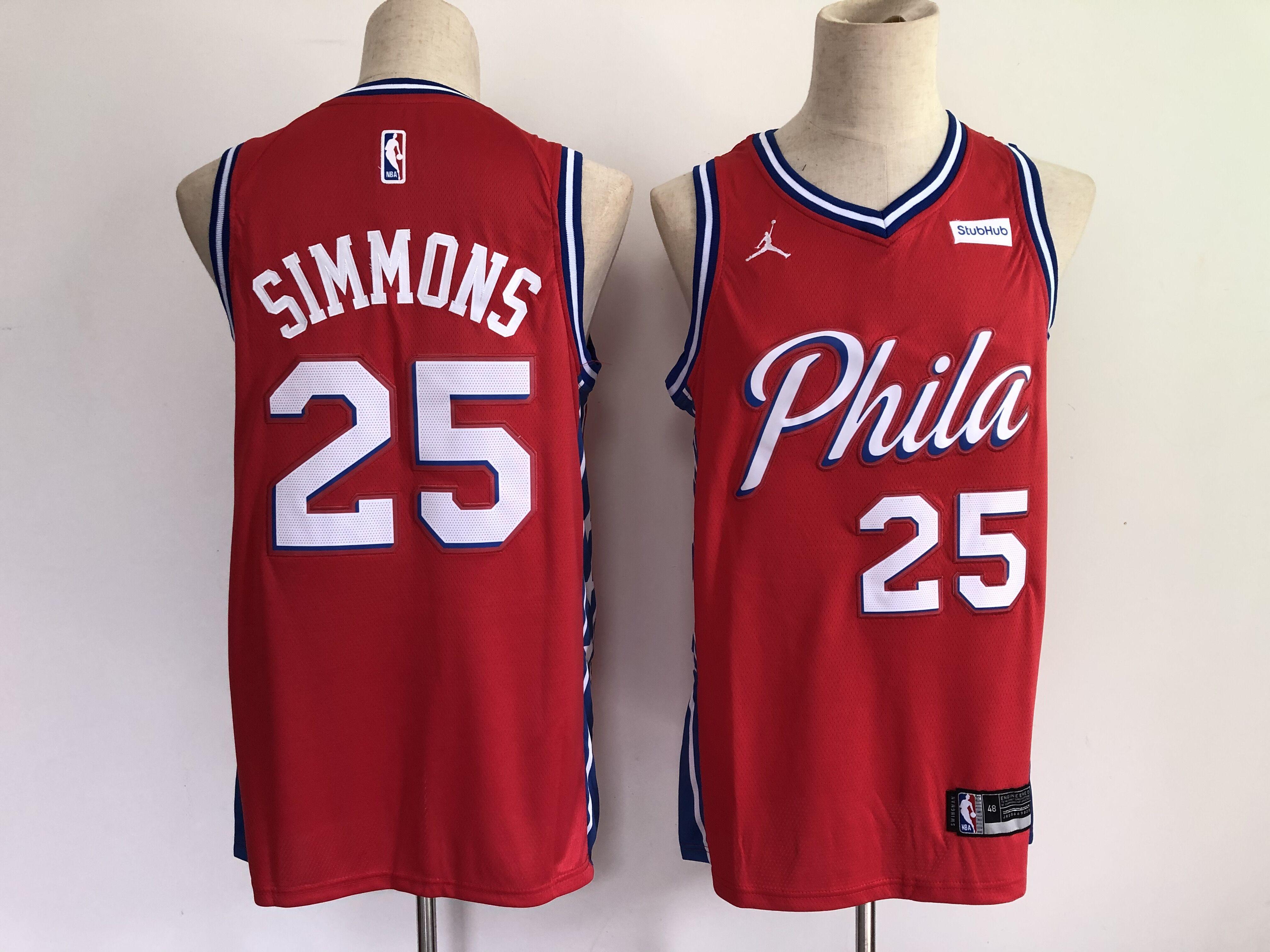 Men Philadelphia 76ers 25 Simmons Red New 2021 NBA Jersey