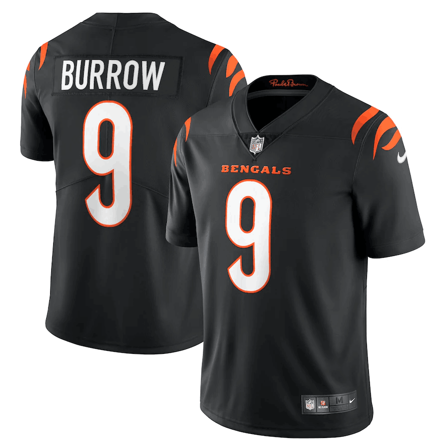 Men's Cincinnati Bengals #9 Joe Burrow 2021 New Black Vapor Untouchable Limited Stitched Jersey