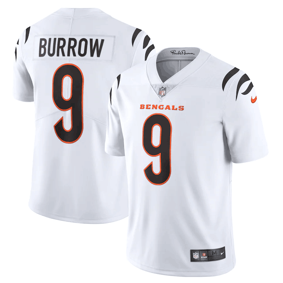 Men's Cincinnati Bengals #9 Joe Burrow 2021 New White Vapor Untouchable Limited Stitched Jersey