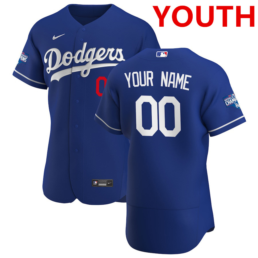 Youth los angeles dodgers custom nike royal alternate 2020 world series champions authentic player mlb jersey