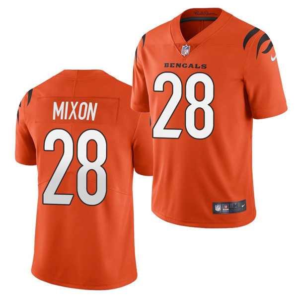 Men's Cincinnati Bengals #28 Joe Mixon 2021 New Orange Vapor Untouchable Limited Stitched Jersey